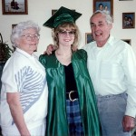 This photo has not been doctored!  This is proof that I graduated from something and my green gown is a dead-giveaway that it's MSU!